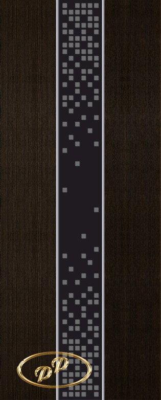 ДП Натали, шпон МОРЁНЫЙ ДУБ бесцветный лак, стекло лакобель черное рис. Кубики