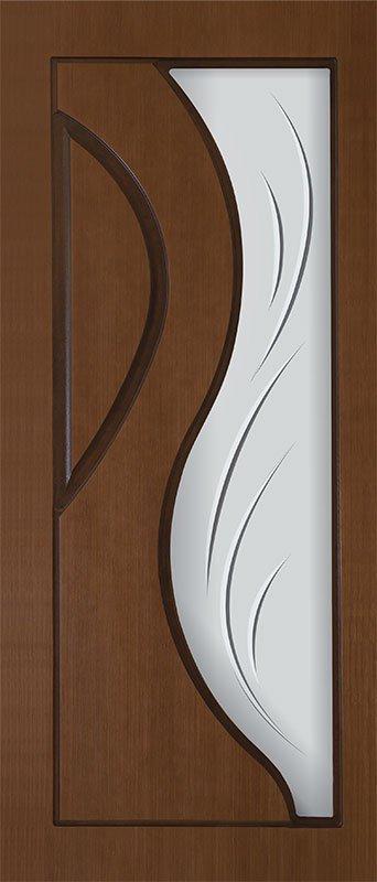 Шпонированная дверь Пекин, шпон дуб тон янтарь